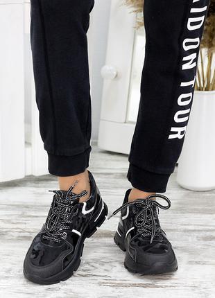 Кроссовки черный хаки кожа
