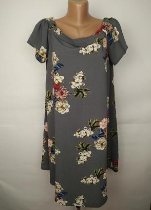 Платье цветочное легкое со спущенными плечами большой размер n...