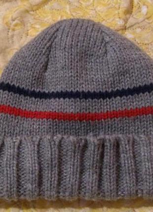 Серая шапка на флисе 2-3 года