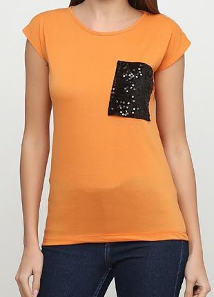 Помаранчева футболка з асимметричною кишенею тм spora розмір l