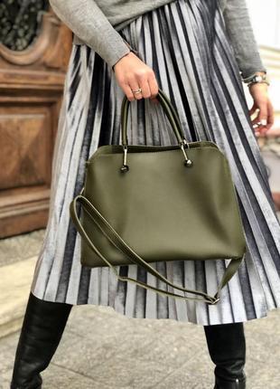 Стильная сумка на три отделения оливкового цвета