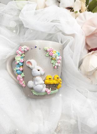 Чашечка с кроликом и цыплятами