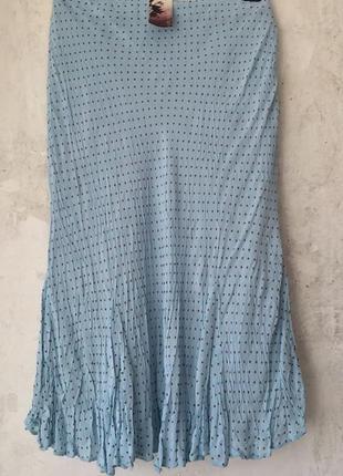 Нежная голубая юбка годе из жатой вискозы, мелкий горошек, нов...