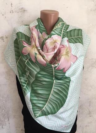 Большой шёлковый платок, цветочный/растительный орнамент, тайс...