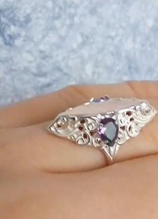 Серебряное кольцо маркиз, 925, перстень женский, мистик топаз