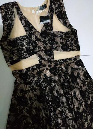 Платье женское бежевое кружевное