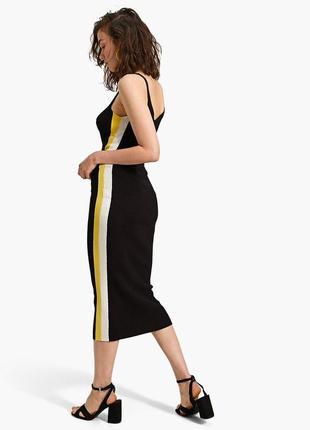 Модная черная юбка миди с лампасами stradivarius