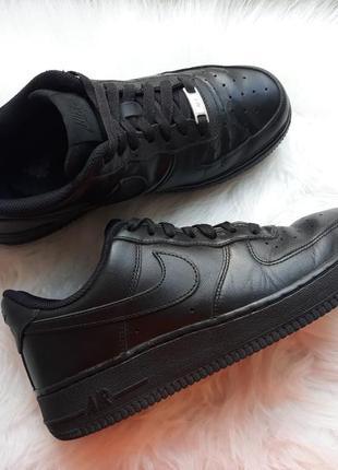 Оригинал! крутые черные кожаные кроссовки nike air force 1