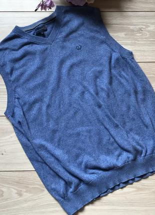 Мужская голубая жилетка безрукавка lincoln