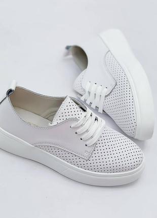 Повседневные белые кеды мокасины на шнуровку, натуральная кожа