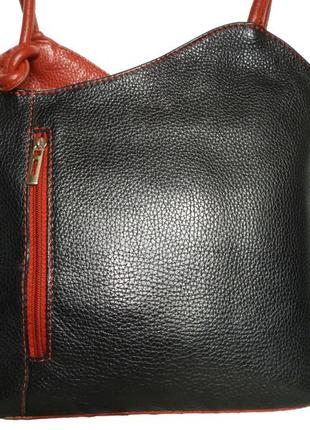 Стильная  вместительная  сумка-рюкзак натуральная кожа италия