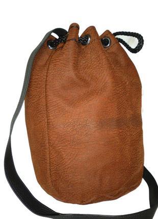 Стильная сумка-мешок-боченок натуральная кожа