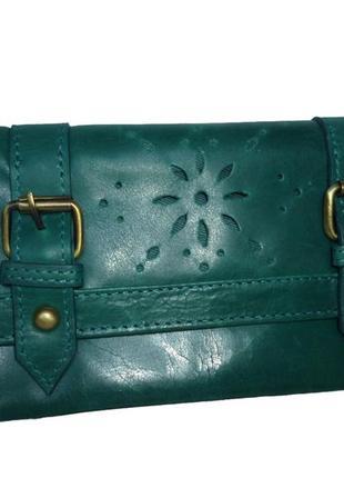 Стильный обьемный кошелек натуральная кожа asos новый