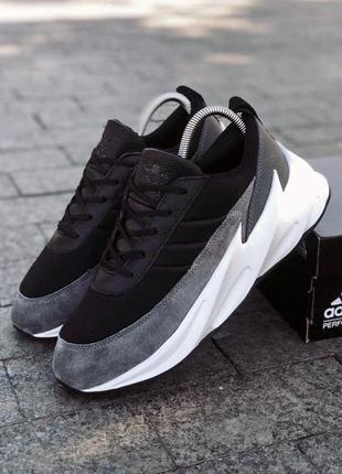 Кроссовки мужские adidas sharks черные серые / кросівки чоловічі