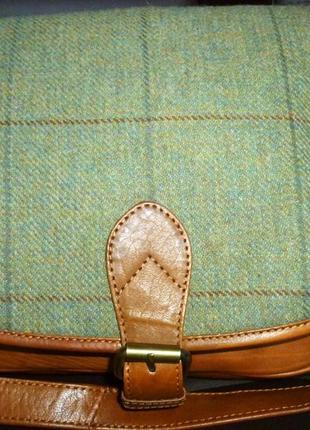 Стильная сумка кроссбоди натуральная кожа + ткань bolla