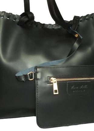 Шикарная большая сумка шоппер натуральная кожа vera pelle италияя