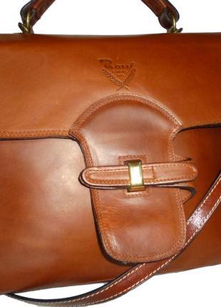 Стильная вместительная сумка натуральная кожа rossi