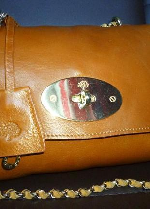 Стильная номерная сумка   кроссбоди  натуральная кожа mulberry