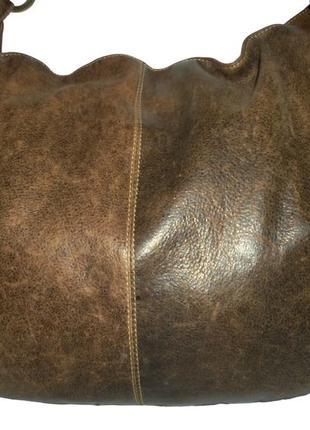 Стильная большая сумка натуральная кожа с эффектом потертости ...