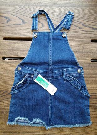 Джинсовый комбинезон ( юбка) benetton