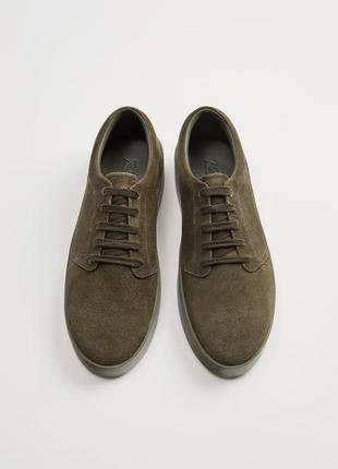 ZARA новые кожаные мужские кроссовки на широкой подошве {замша}