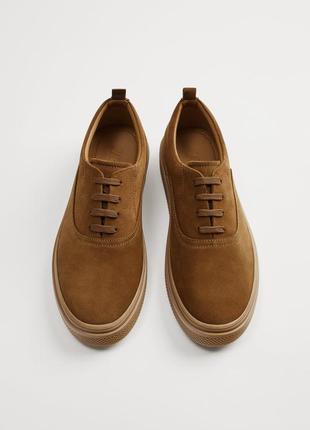 ZARA новые мужские кожаные кроссовки на широкой подошве {замша}