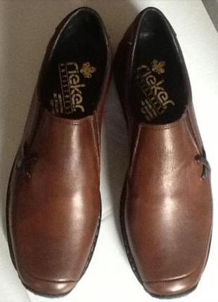 Немецкие кожаные туфли слипоны rieker 41 (27)