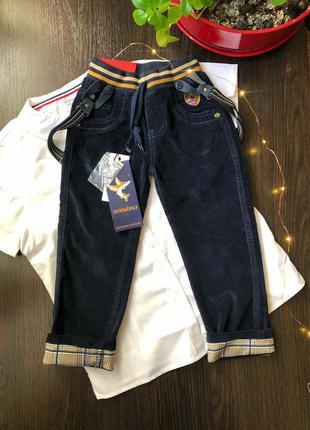 Вельветовые брюки штаны на мальчика с подтяжками