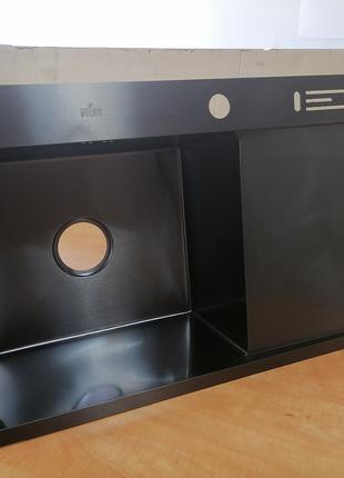 Кухонная мойка с крылом из нержавейки черная с PVD покрытием Nett