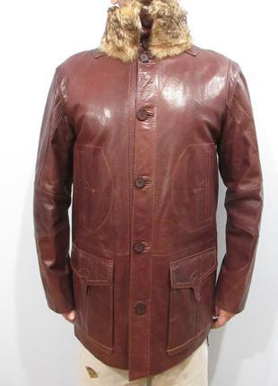 Новая мужская утепленная кожаная куртка с воротником из меха в...