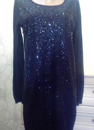 Трикотажное вечерние, нарядное,  черное платье свободного кроя...