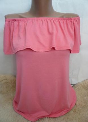 Женственный топ, футболка розового оттенка с оборкой, трикотаж...
