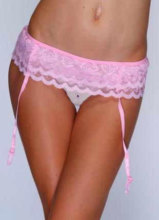 Эффектный розовый сексуальный пояс с подвязками для чулок