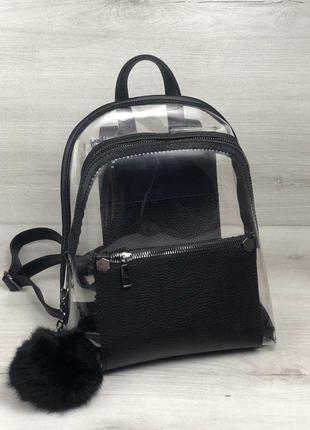 Рюкзак «бонни» черный силиконовый с пушком