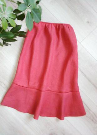 Нежная льняная юбка с воланом