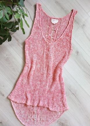 Трендовое вязанное платье туника накидка топ