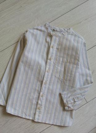 Стильная рубашка в полоску с воротником мандарин