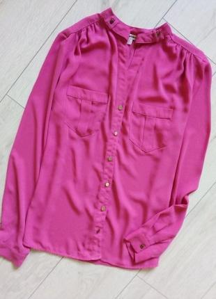 Яркая стильная блуза с воротником мандарин