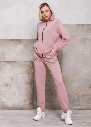 Комфортный женский костюм на молнии | худи и брюки прямого куд...