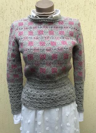 Винтаж,вязаная,ажурная кофта,свитер,джемпер,шерсть,этно,бохо с...