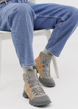Высокие ботинки из кожи asos design на шнуровке!