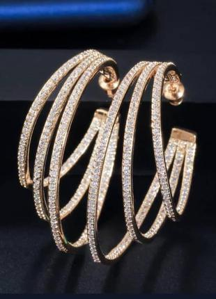 Крупные серьги кольца позолоченные с камнями бижутерия