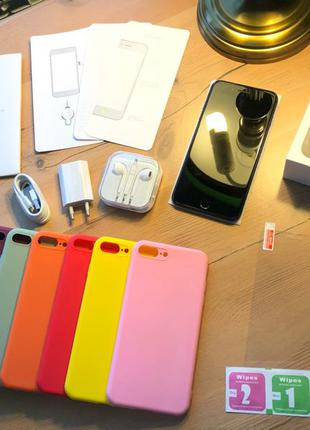 Новый IPHONE 7 PLUS 128gb BLACK NEVERLOCK 81% + комплект + стекло