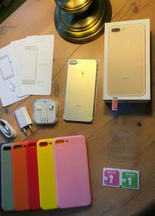 Новый IPHONE 7 PLUS 128gb GOLD NEVERLOCK 79% + КОМПЛЕКТ + стекло