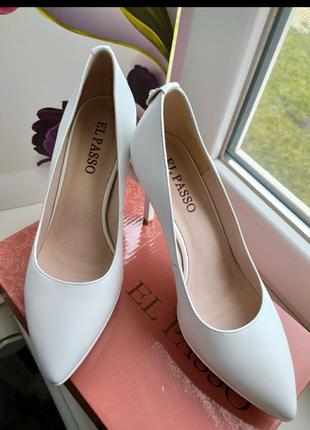 Свадебные туфли/ Кожаные белые туфли