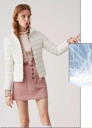Молочная белая куртка пуховик пух под пальто шубку тедди стеганая