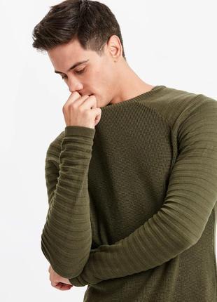 Мужской свитер lc waikiki / лс вайкики цвета хаки, с гофрирова...