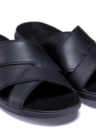 Мужские кожаные летние шлепанцы-сланцы Е-series Black