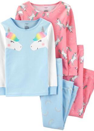Пижамы для девочек carters с единорожками. размер 5  лет.