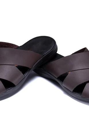 Мужские кожаные летние шлепанцы-сланцы Е-series Brown